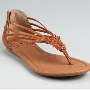 Lucky Brand Cynthia Leather Braided Thong Sandals